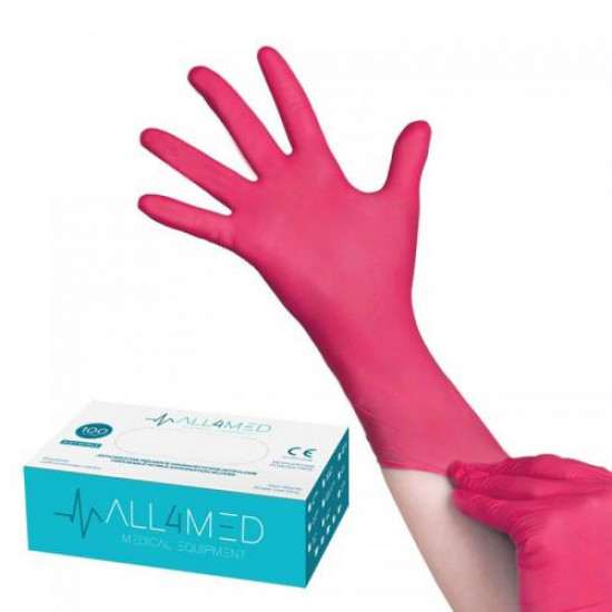 All4Med jednorázové nitrilové rukavice malinové L 100 ks