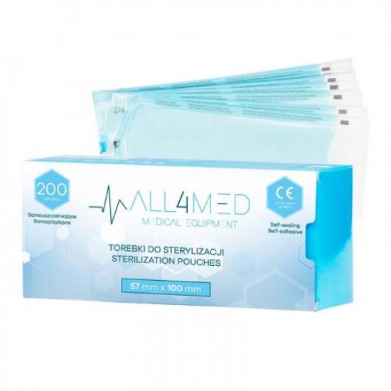 All4Med vrecká na parnú sterilizáciu v autokláve 57 x 100 mm 200 ks