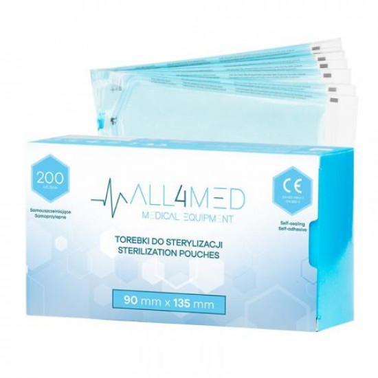 All4Med vrecká na parnú sterilizáciu v autokláve 90 x 135 mm 200 ks