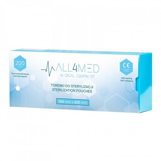 All4Med vrecká na parnú sterilizáciu v autokláve 100 x 230 mm 200 ks