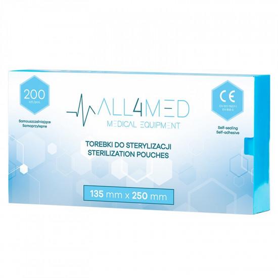 All4Med vrecká na parnú sterilizáciu v autokláve 135 x 250 mm 200 ks
