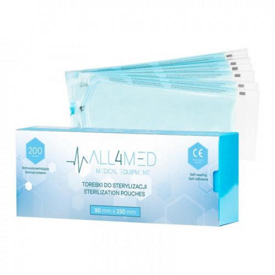 All4Med vrecká na parnú sterilizáciu v autokláve 90 x 230 mm 200 ks