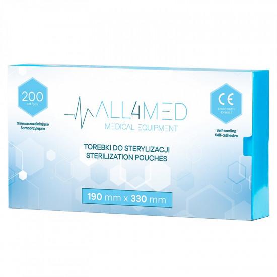 All4Med vrecká na parnú sterilizáciu v autokláve 190 x 330 mm 200 ks