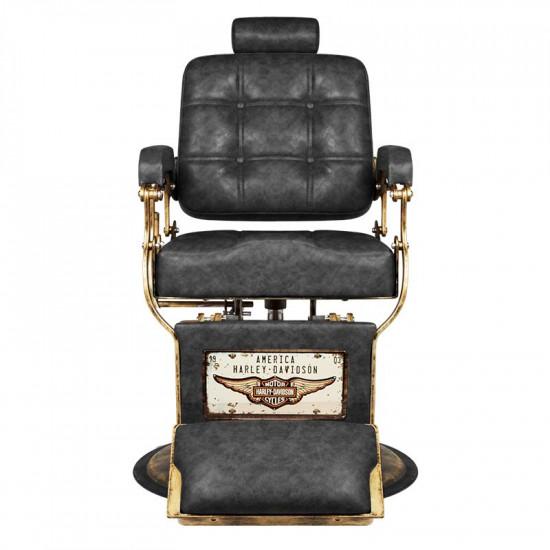Gabbiano barberské kreslo Boss HD Old Leather čierne