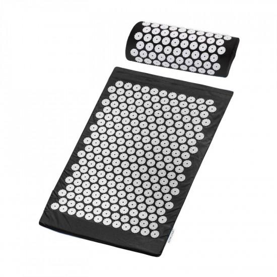 Akupresúrna podložka ActivFizjo Basic malá čierna s vankúšom