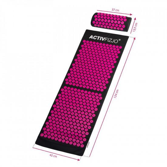 Veľká akupresúrna podložka ActivFizjo Basic čierno-ružová s vankúšom
