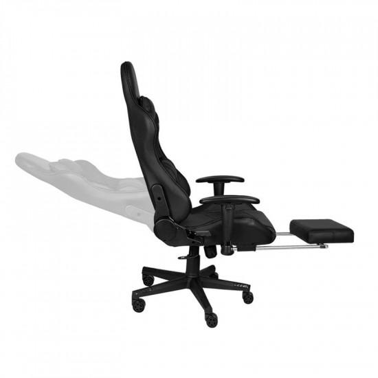 Herná stolička Premium 557 s podnožkou čierna