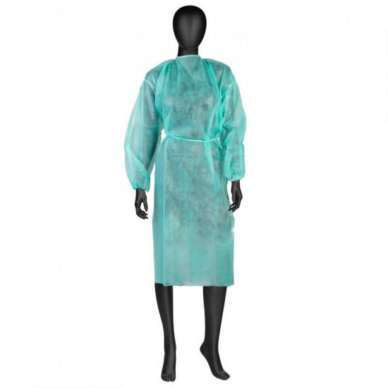 Jednorázový ochranný lekársky plášť s gumkami zelený veľ. L 10 ks